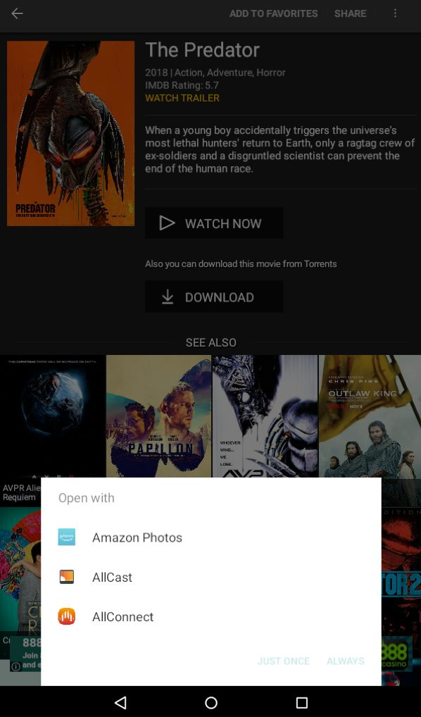 Choose AllCast as the app to open Showbox.