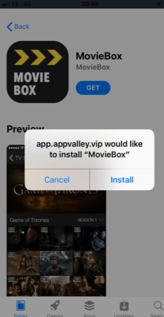 "Showbox install - app.appvalley.vip would like to install ""MovieBox"""